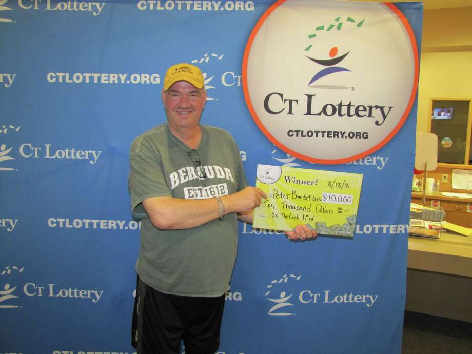 "Peter Bonitatibus Jr., of Monroe, cashed in on the top prize for ""10X The Cash 11th Edition"" almost exactly six years after claiming a previous $10,000 prize from the CT Lottery. Photo: CT Lottery Photo"