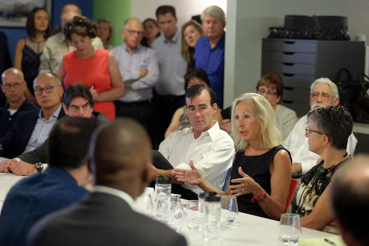 Janis Collins, co-founder of the Westport, Conn.-based Refinery, discusses the role of women in small business during an August 2016 roundtable led by U.S. Sen. Chris Murphy (D- Conn) in Stamford.