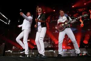 Singer Simon Le Bon, John Taylor on bass and Andy Taylor on guitar of Duran Duran as they perform on the Lands End stage  during day one of the Outside Lands Music Festival in Golden Gate Park in San Francisco, California, on Fri. Aug. 5, 2016.