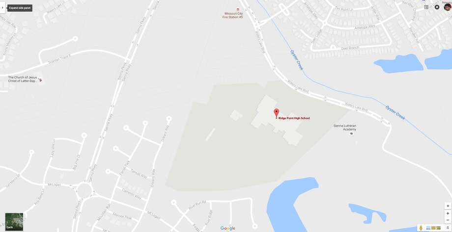 A screenshot of a Google Maps image of the 500 block of Waters Lake Boulevard in Sienna Plantation, Texas. On Sept. 1, 2016, a power outage at Ridge Point High School delayed classes. Photo: File/Google