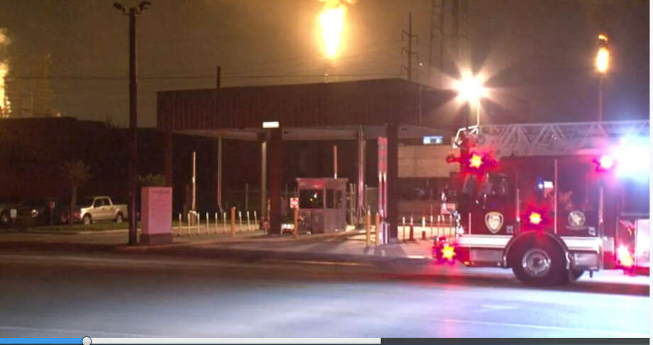 Bright orange flames from flaring were seen early Thursday morning after a power outage at the LyondellBasell Houston Refinery in southeast Houston. (Metro Video)