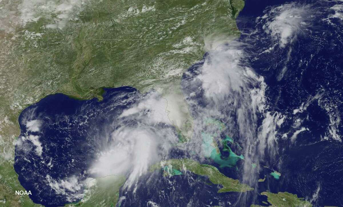 This NASA-NOAA GOES East satellite photo taken August 31, 2016 shows Tropical Storm Hermine in the Gulf of Mexico. As of 2pm EDT, August 31, NOAA's National Hurricane Center upgraded Depression Nine to Tropical Storm Hermine. Located roughly 540 miles west of Miami, Florida, Hermine's maximum sustained winds have increased to near 40 miles per hour with higher gusts. According to the National Hurricane Center, additional strengthening is forecast during the next day or two, and the storm could be near hurricane strength by the time landfall occurs. Hermine is expected to make landfall in Florida's