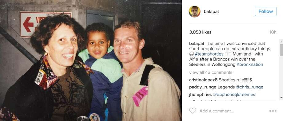 """""""The time I was convinced that short people can do extraordinary things #teamshorties,"""" the 28-year-old Australia-native captioned the photo. """"Mum and I with Alfie after a Broncos win over the Steelers in Wollongong #bronxnation"""""""