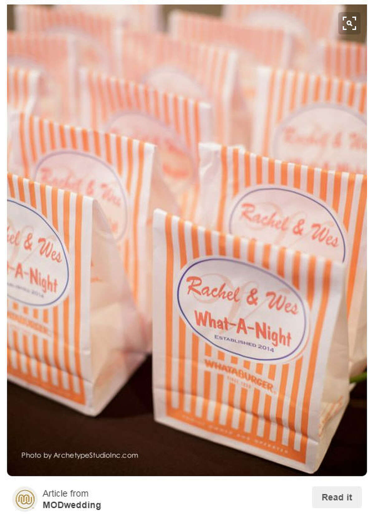 Whataburger:Does it really count as the ultimate Texas wedding if there is no Whataburger? (Hint: no it does not). Photo: Pinterest