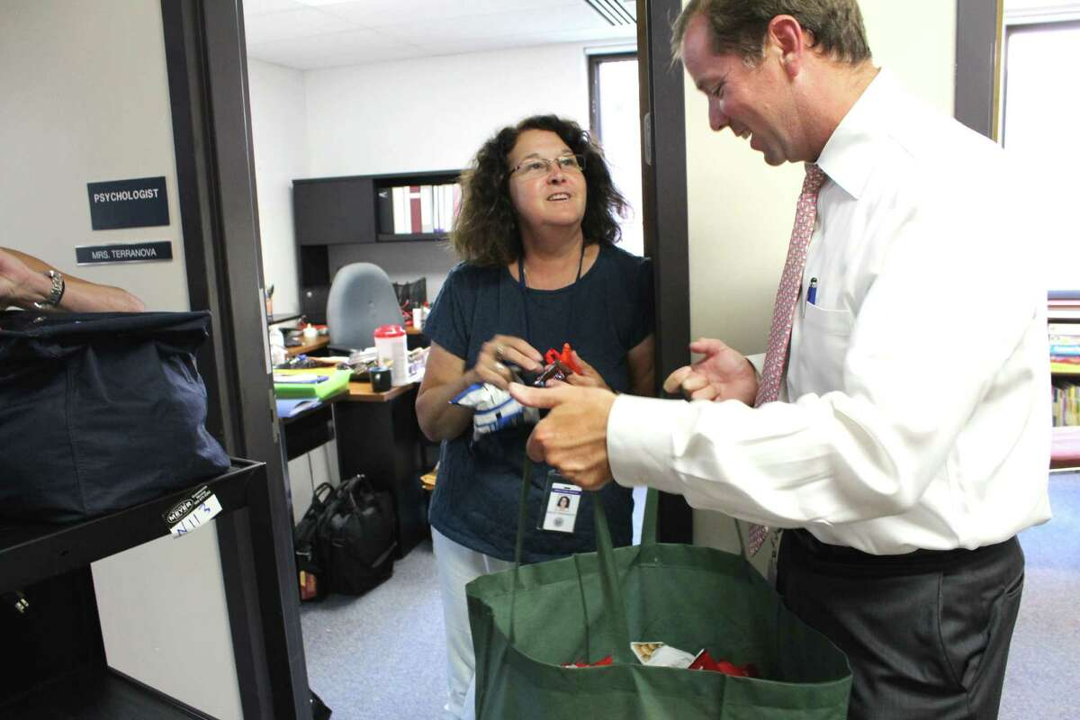 Wilton District Superintendent Kevin Smith passed out snacks and beverages on Wednesday, Aug. 31, to teachers and staff preparing Miller-Driscoll before the start of school.