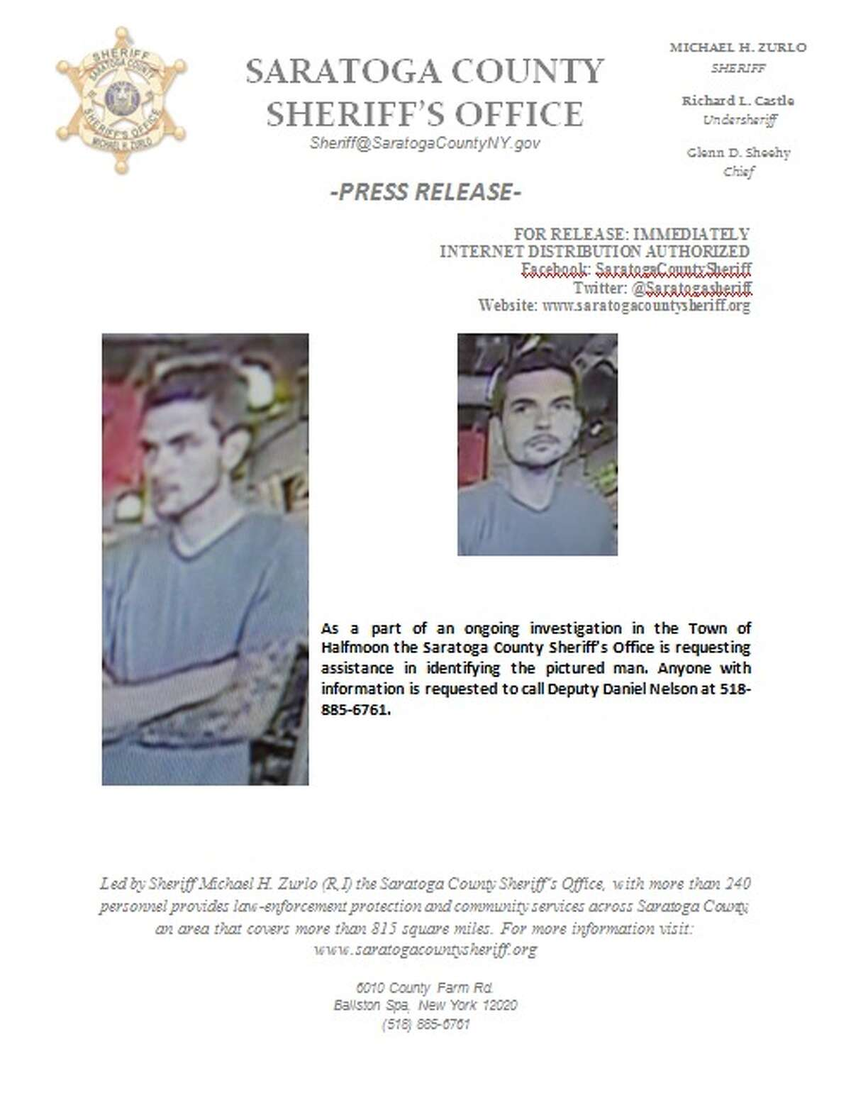 The Saratoga County Sheriff's Office seeks help identifying the man in the photos.