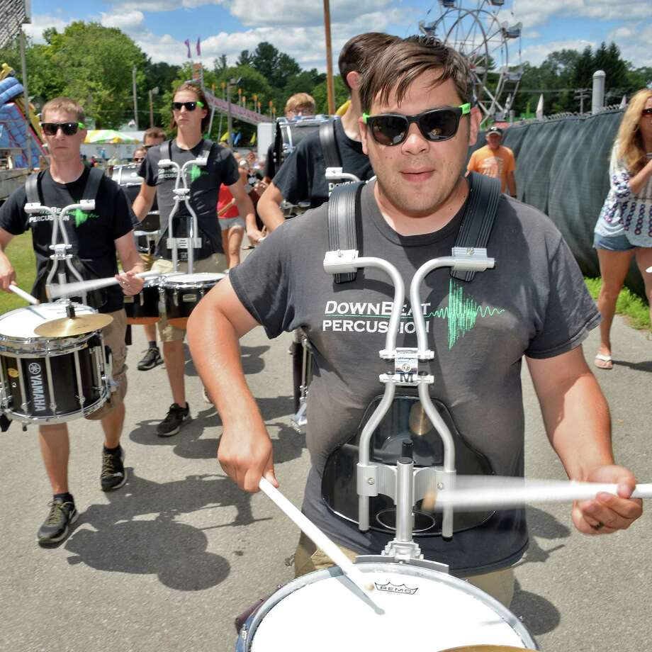 Dan English and the Downbeat Percussion marching ensemble perform during opening day at the Saratoga County Fair Tuesday July 19, 2016 in Ballston Spa, NY.  (John Carl D'Annibale / Times Union) Photo: John Carl D'Annibale / 20037362A