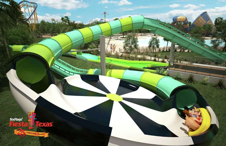 On Sept. 1, 2016, Six Flags Fiesta Texas unveiled its 924-foot-long, three-story Thunder Rapids rocket blast water coaster slated to open in 2017. The coaster has an inline raft powered by water jet propulsion technology, five uphill blasts, four flying saucer turns and one dive turn, according to a news release. The theme park operator is touting the new coaster as the first-of-its-kind in the United States. Photo: Courtesy /Six Flags