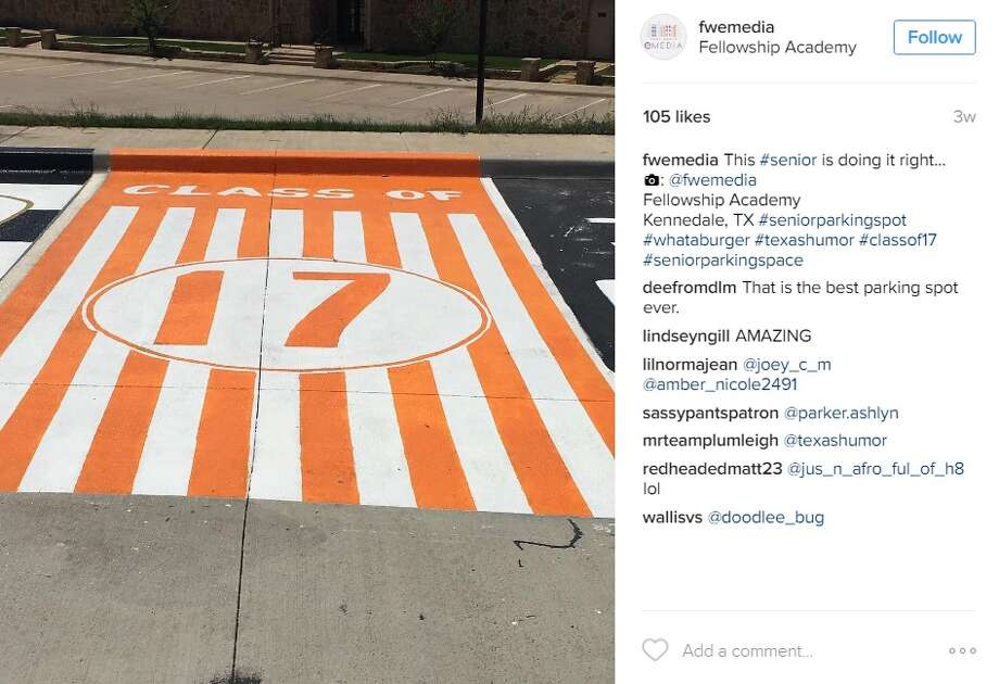 """This #senior is doing it right...: @fwemediaFellowship AcademyKennedale, TX #seniorparkingspot #whataburger #texashumor #classof17 #seniorparkingspace,"" @fwemedia. Photo: Senior Parking"