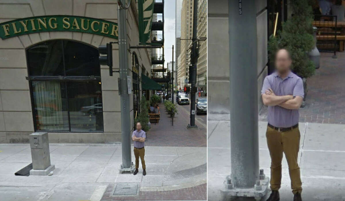 The Google car took an embarrassing photo of Joshua Justice, an employee with the Flying Saucer in downtown Houston.