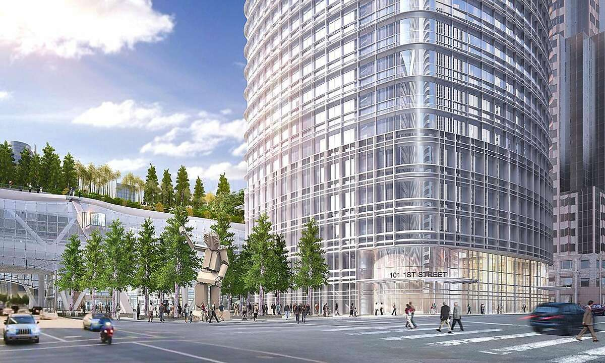 The design of the 1,070-foot tower proposed for the corner of First and Mission streets has been refined to provide access to the rooftop park planned for the Transbay Terminal, including a diagonal elevator (left). The project, which has been in the works since 2007, is scheduled to go to the Planning Commission in October for final approvals.