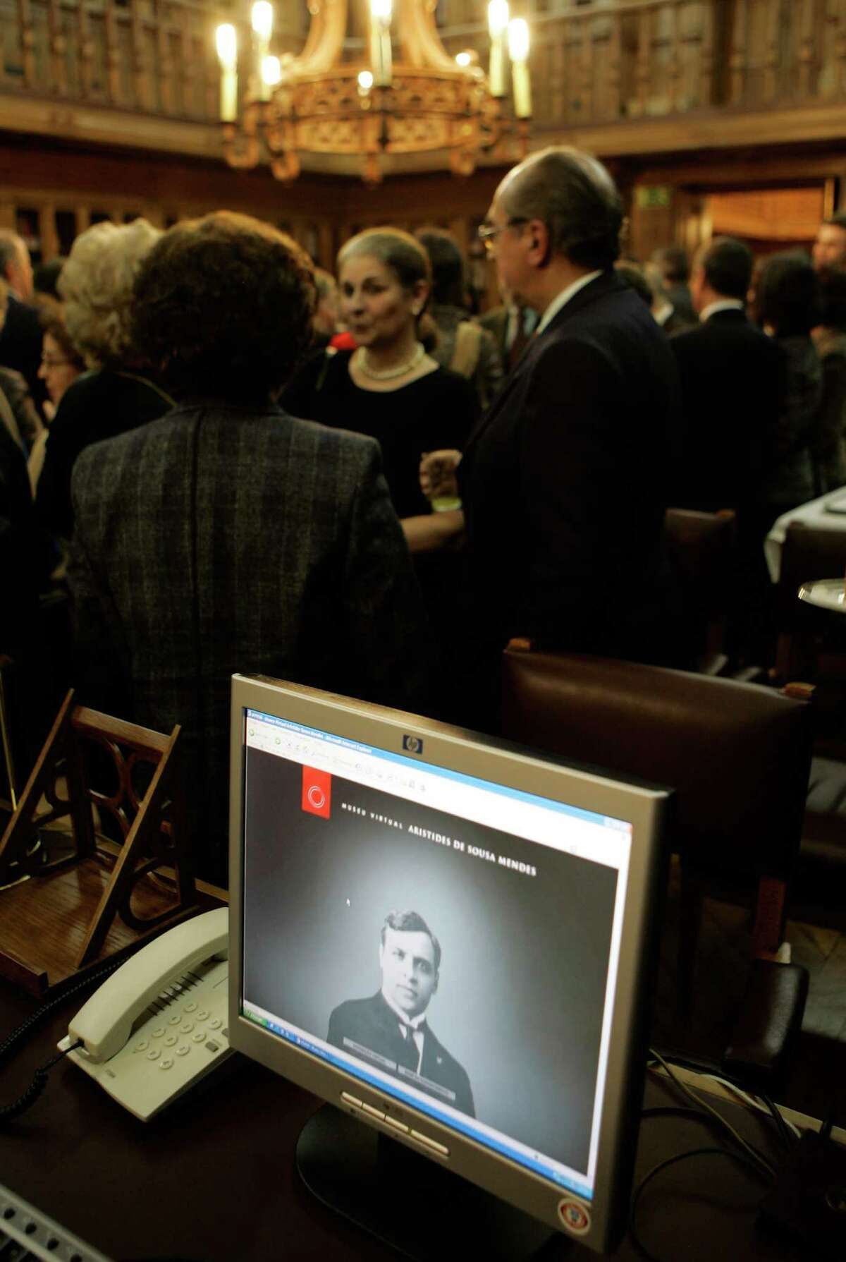 A photograph of Portuguese diplomat Aristides de Sousa Mendes is seen on a computer screen during the inauguration of a internet based virtual museum Tuesday, Feb. 19 2008, at the Portuguese parliament in Lisbon. Sousa Mendes saved thousands of Jews from the Nazis during World War II by issuing them visas to Portugal against his government orders.(AP Photo/Armando Franca)