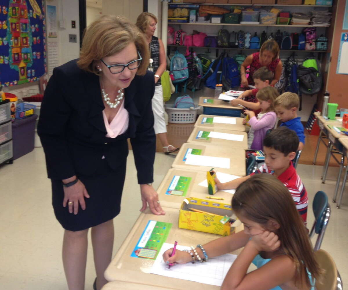 Commissioner of Education Dianna Wentzell visits a second grade math class at Fawn Hollow Elementary School in Monroe on the first day of school, Sept. 1, 2016.