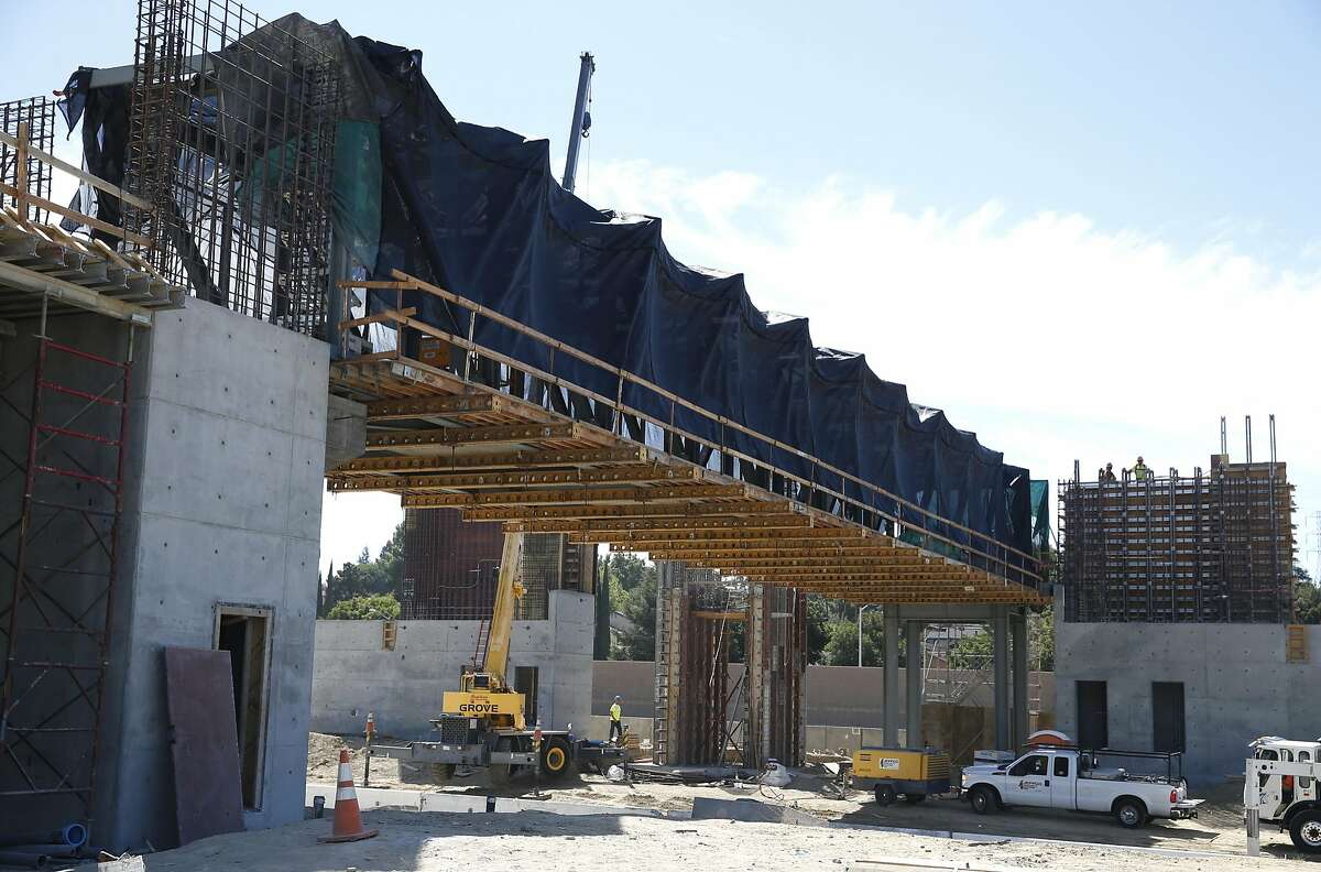 The new Antioch eBART station is under construction during the Highway 4 widening project east of Hillcrest Avenue in Antioch, Calif. on Thursday, Sept. 24, 2015.