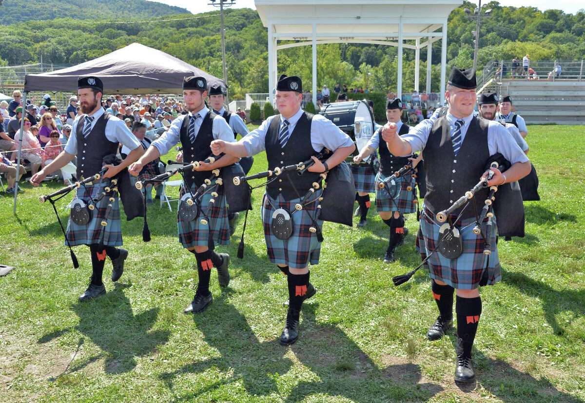 The Catamount Pipe of Montpelier, Vt., during pipe band competition at the Scottish Games at the Altamont Fair Grounds Saturday August 30, 2014, in Altamont, NY. (John Carl D'Annibale / Times Union)