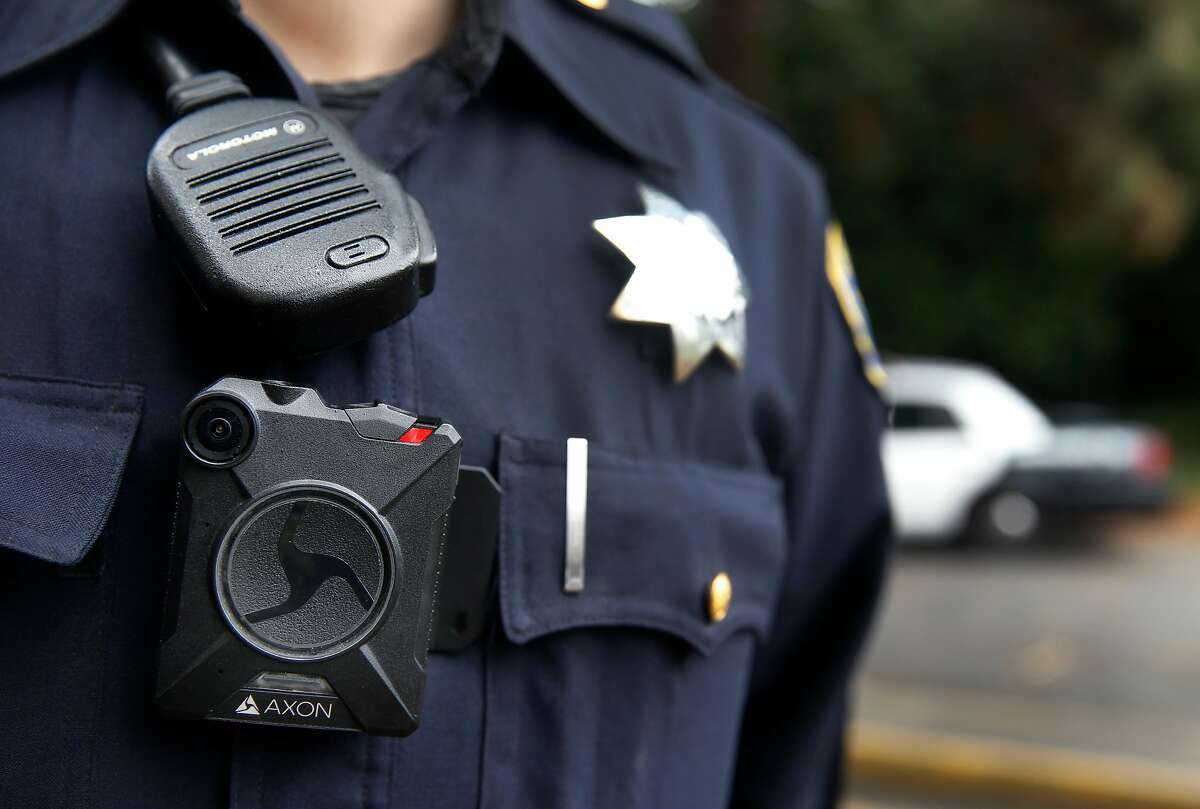 Police officer Kyle Wren wears a body worn camera outside of the Ingleside police station in San Francisco, Calif. on Sept. 1, 2016. Wren was one of the first officers from the Bayview station to field test the cameras before they were issued department-wide. Officers assigned to the Ingleside are the second in line to be outfitted and trained with the cameras.
