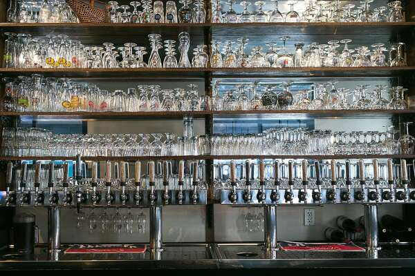 The taps and glasses at Monk's Kettle.