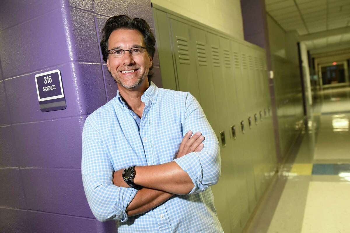 Salvatore Faro, whose tenth-grade students call him Dr. Faro, outside his Earth Science room on Thursday, Aug. 25, 2016, at Ballston Spa High in Ballston Spa, N.Y. (Cindy Schultz / Times Union)