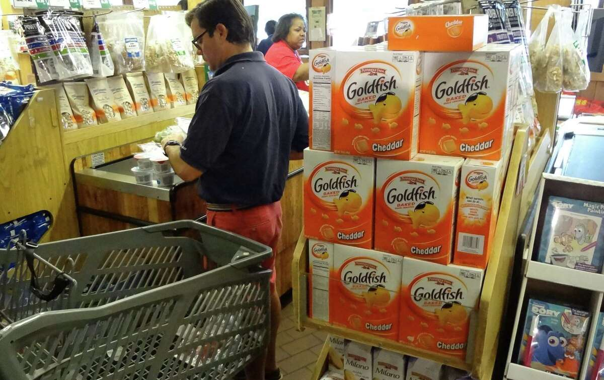 Pepperidge Farm Goldfish crackers and Milano cookies dominate the checkout end shelves at Stew Leonard's, just down Westport Avenue from Pepperidge Farm's headquarters in Norwalk, Conn.