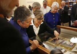 UC President Janet Napolitano (l to r), Senator Barbara Boxer and interim Executive Vice Chancellor and Provost Carol Christ look over items from Senator Barbara Boxer's archive displayed at UC Berkeley's Bancroft Library on Thursday, September 1,  2016 in Berkeley,  California.