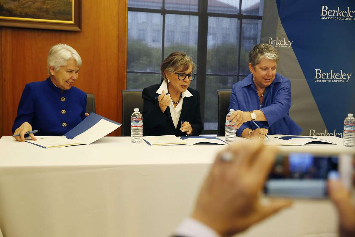 Then-Interim Executive Vice Chancellor and Provost Carol Christ, (l to r) Senator Barbara Boxer and UC President Janet Napolitano sign papers at UC Berkeley's Bancroft Library after Senator Barbara Boxer announced that she will donate her archive at the end of her term to UC Berkeley's Bancroft Library on Thursday, September 1, 2016 in Berkeley, California.