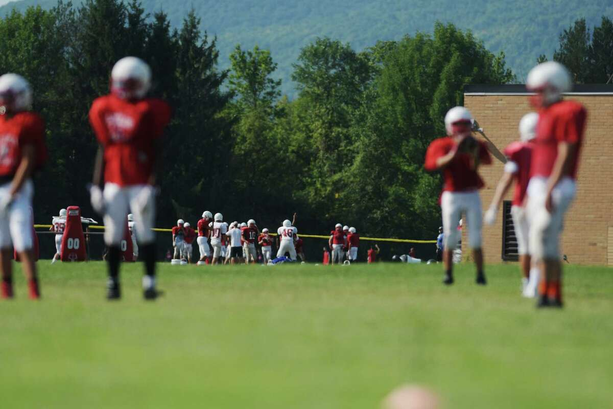 Guilderland High School football players take part in practice on Wednesday, Aug. 24, 2016, in Guilderland, N.Y. (Paul Buckowski / Times Union)