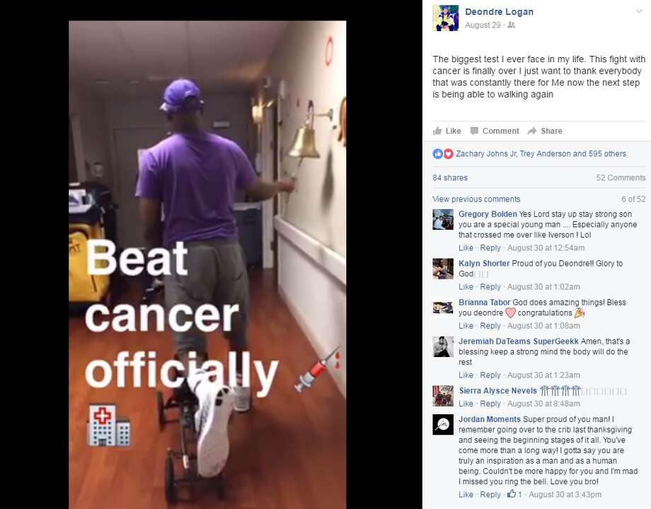 """Deondre Logan, former W.H. Taft basketball standout, ringing a bell to signify he """"beat cancer officially."""""""
