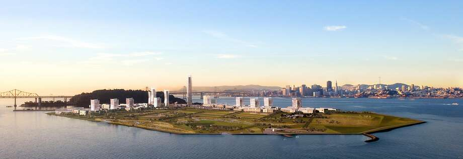A rendering of the long-term development plan for Treasure Island, which could add 8,000 housing units during the next 20 years. Much of what gets built will be placed several feet above today's ground level on the island, part of a larger effort to provide for the likelihood of rising tides in coming decades. Photo: Treasure Island Community Development