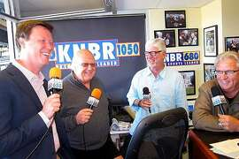 Sportscasters Dave Flemming, Jon Miller, Mike Krukow, Duane Kuiper in the KNBR broadcast booth at AT&T Park.