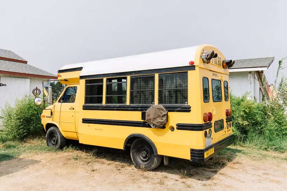 Salinas: What was once ashort school bus is now a secret getaway, complete with a queen bed, LED lights and recycled redwood walls. Photo: Courtesy Of Airbnb