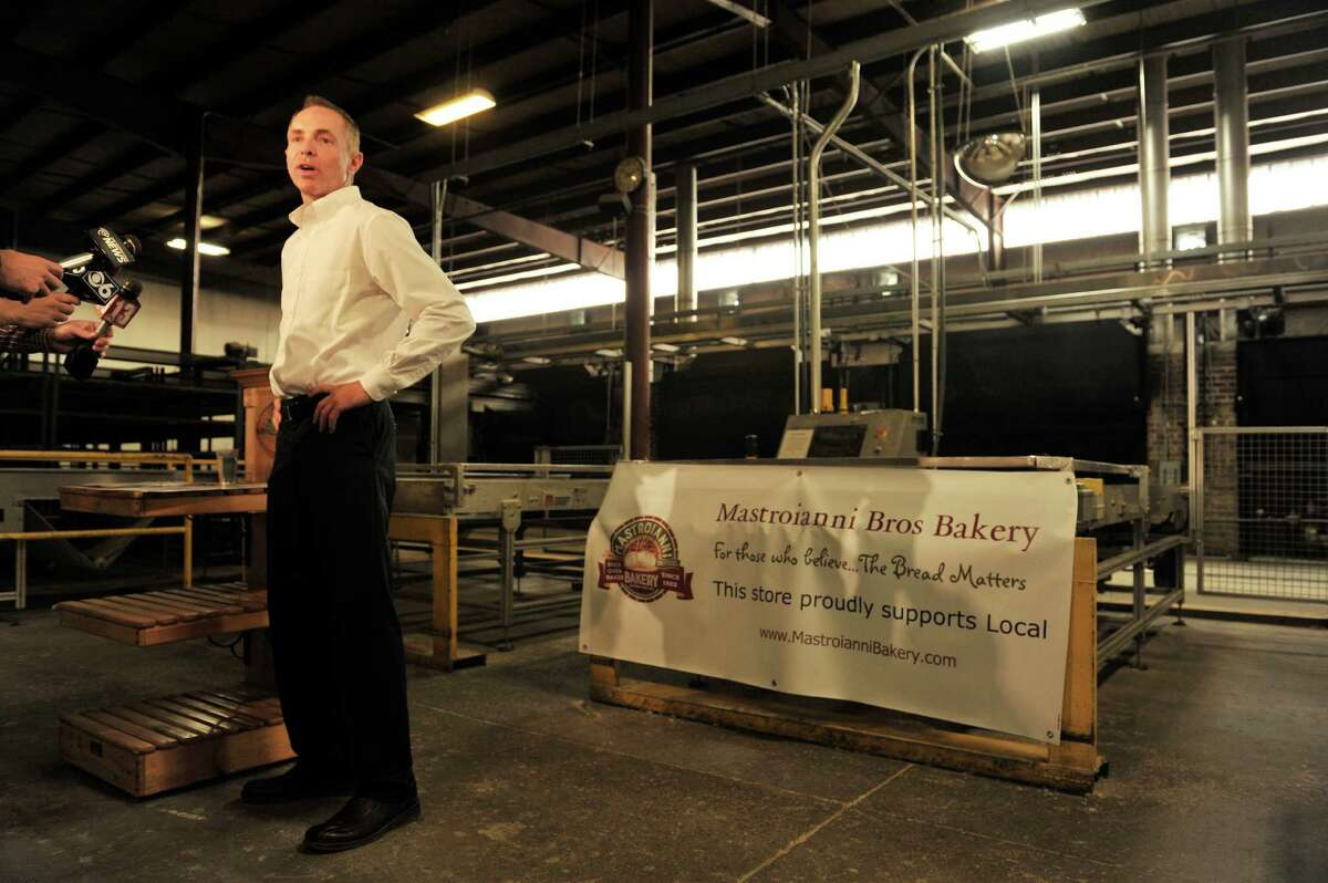 Warren Zeiser, CEO of Mastroianni Brothers Bakery, talks with the media on the production floor of the bakery about the closing of the bakery last week, during an interview on Tuesday, July 5, 2016, in Schenectady, N.Y. (Paul Buckowski / Times Union)