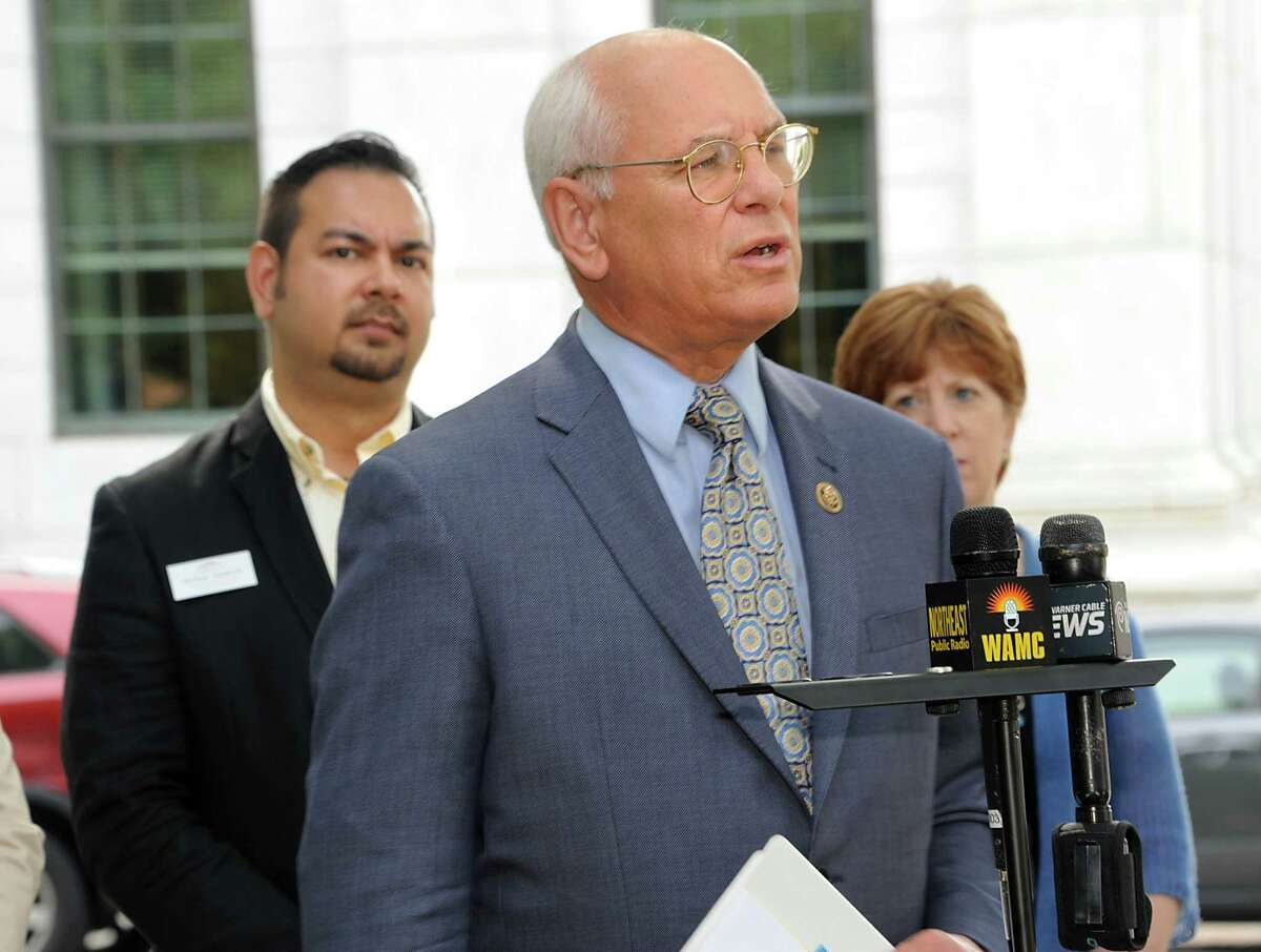 Congressman Paul Tonko and local LGBT leaders hold a press conference to discuss recent victories in the campaign for equality and the challenges that still exist before the community in Academy Park on Friday, July 1, 2016 in Albany, N.Y. (Lori Van Buren / Times Union)