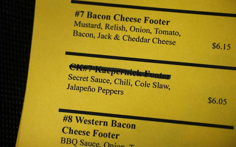 The management at Main Street Footers has taken the CK#7 Kaepernick Footer off the menu.  Photo: Michael Macor, The Chronicle