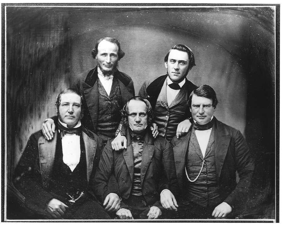 A photo of early city pioneers taken from an original daguerreotype, circa 1850, includes Samuel Brannan (top right), editor of the California Star.