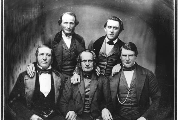 GOLD RUSH 2/B/15JUN98/SC/HO--Early San Francisco pioneers: Samuel Brannan (top right), front row, left to right, Jacob P. Leese, Thomas O. Larking and W.D.M. Howard. Photo from an original daguerreotype, ca. 1850. PHOTO COURTESY CALIFORNIA HISTORICAL SOCIETY, FN-10746