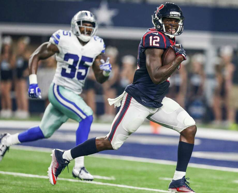 Houston Texans wide receiver Keith Mumphery (12) runs past Dallas Cowboys strong safety Kavon Frazier (35) as he races into the end zone for a 64-yard touchdown reception during the second quarter of an NFL pre-season football game at AT&T Stadium on Thursday, Sept. 1, 2016, in Arlington, Texas. Photo: Brett Coomer, Houston Chronicle / © 2016 Houston Chronicle