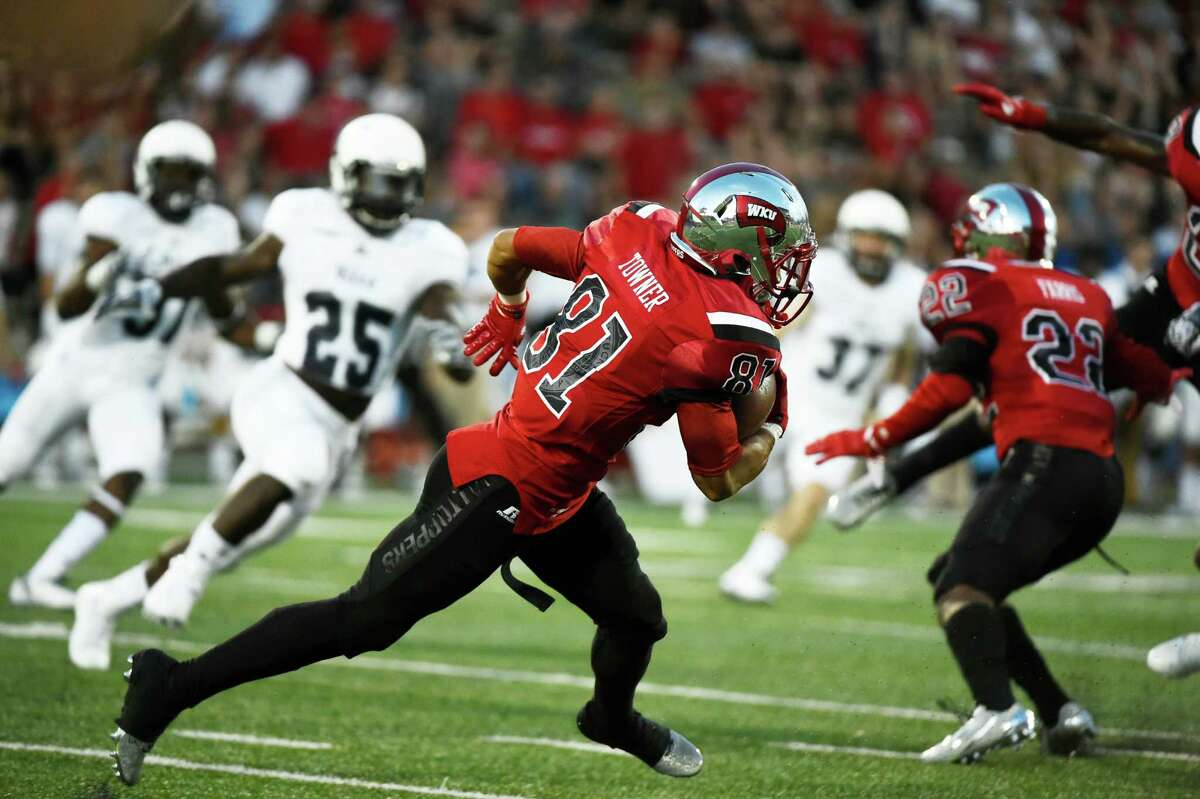Western Kentucky wide receiver Kylen Towner (81) runs the ball during the first half of an NCAA college football game against Rice, Thursday, Sept. 1, 2016, in Bowling Green, Ky. (AP Photo/Michael Noble Jr.)