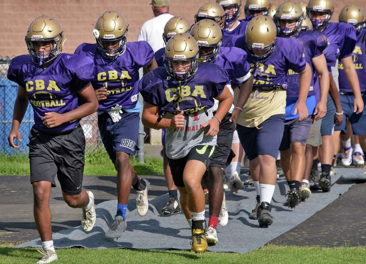 Christian Brothers Academy take the field for practice at the school Thursday Sept. 1, 2016 in Colonie, NY. (John Carl D'Annibale / Times Union)