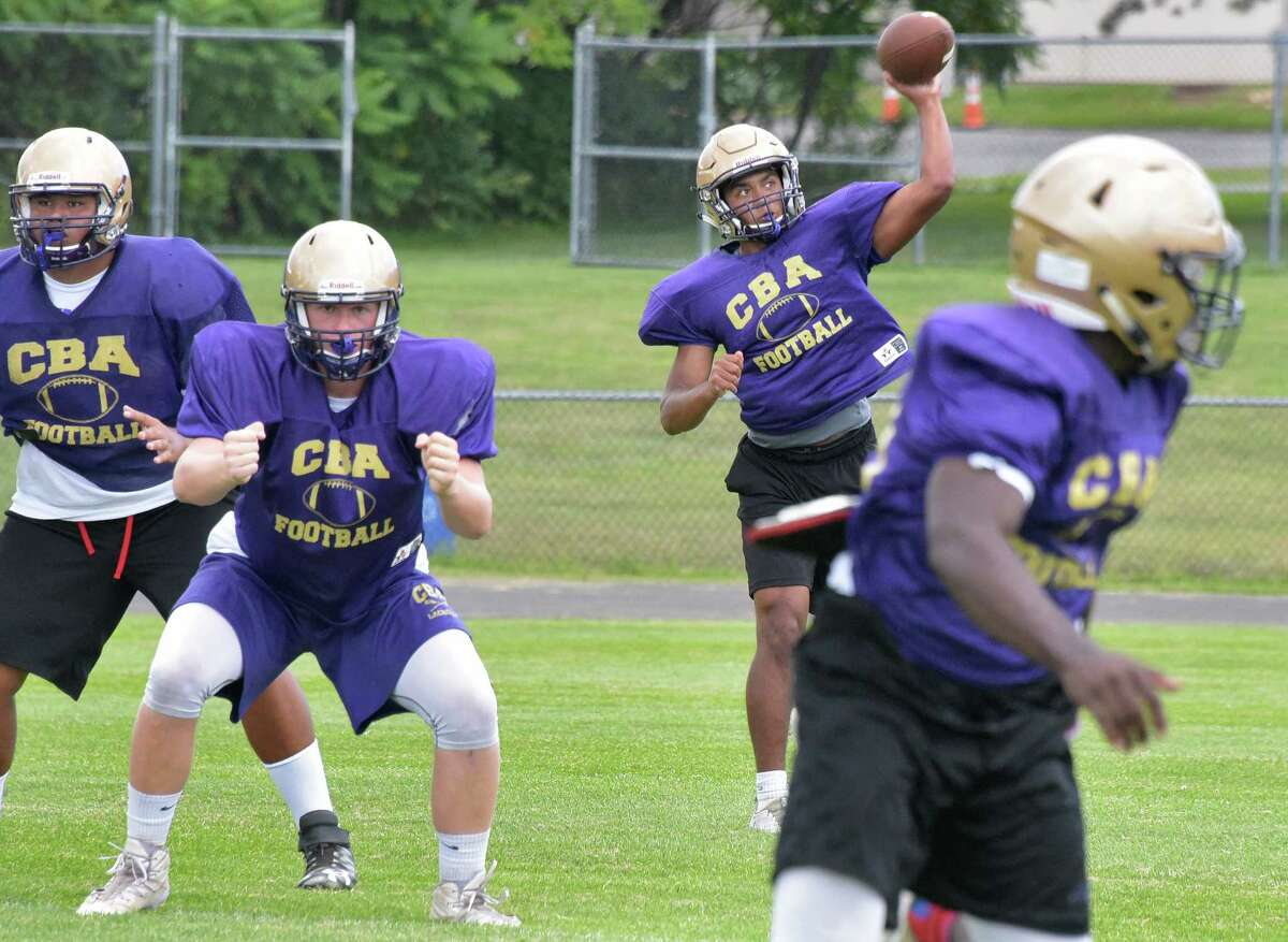 Christian Brothers Academy QB Max Jones fires off a pass during practice at the school Thursday Sept. 1, 2016 in Colonie, NY. (John Carl D'Annibale / Times Union)
