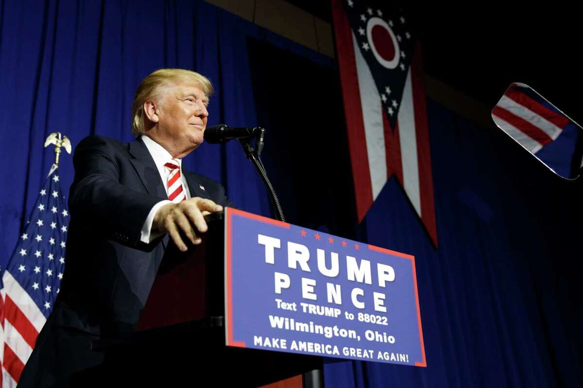 Republican presidential candidate Donald Trump pauses while speaking during a campaign rally, Thursday, Sept. 1, 2016, in Wilmington, Ohio. (AP Photo/Evan Vucci) ORG XMIT: OHEV134