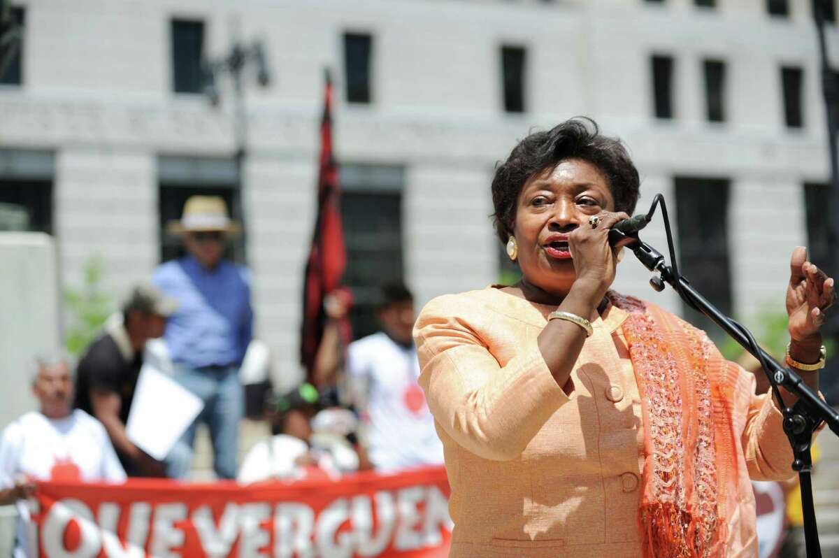 Sen. Andrea Stewart-Cousins, right, speaks during a rally calling for farm workers rights on Wednesday, June 1, 2016, at the Capitol in Albany, N.Y. (Cindy Schultz / Times Union archive)
