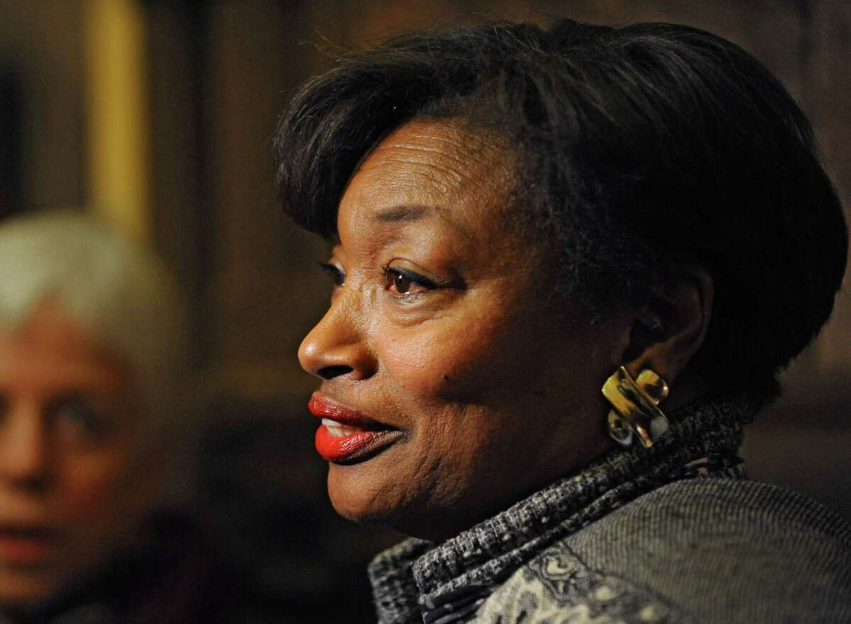 Democratic Conference Leader Senator Andrea Stewart-Cousins talks to the press about the Women's Equality Act bill Monday afternoon, Jan. 12, 2015, at the Capitol in Albany, N.Y. (Lori Van Buren / Times Union archive)
