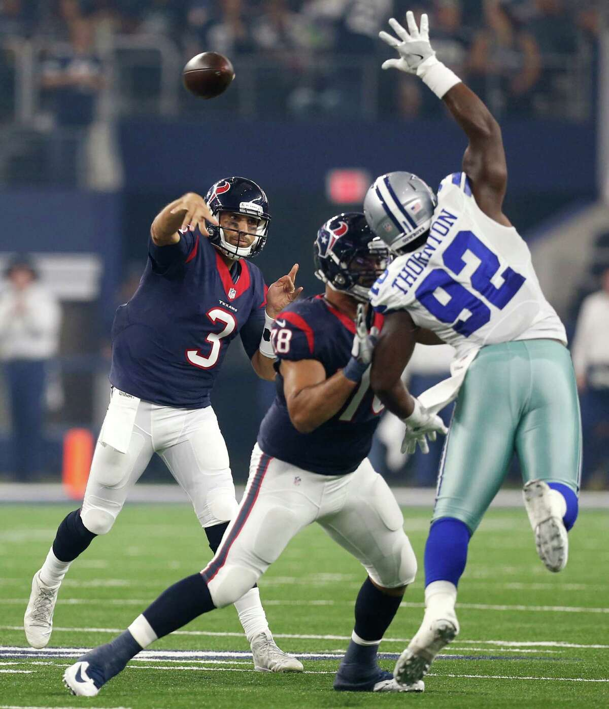 Texans QB Tom Savage, firing a pass around the Cowboys' Cedric Thorn-ton, finished the preseason with four touchdown passes and no interceptions.