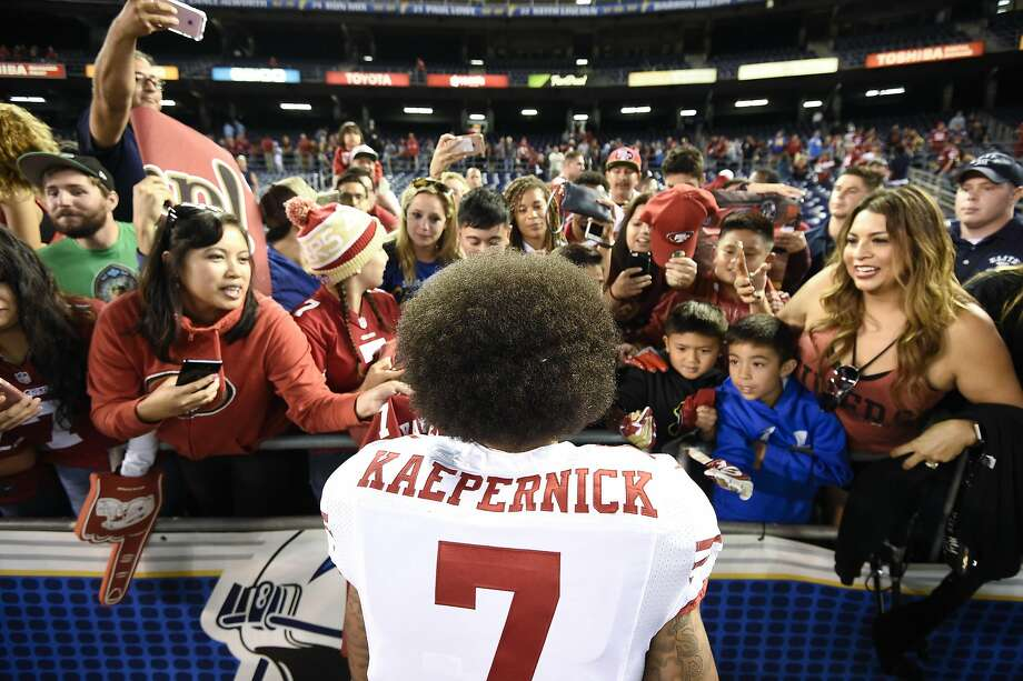 San Francisco 49ers quarterback Colin Kaepernick greets fans after their 21-31 win against the San Diego Chargers during an NFL preseason football game Thursday, Sept. 1, 2016, in San Diego. (AP Photo/Denis Poroy) Photo: Denis Poroy, Associated Press