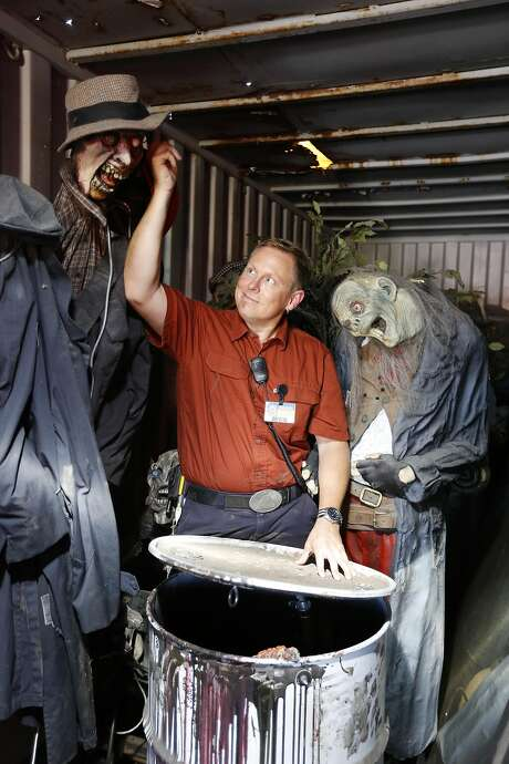 Mark Hersey, entertainment technology supervisor, with some of the scary creatures now in storage because of renovation at the Santa Cruz Beach Boardwalk. Photo: Craig Lee, Special To The Chronicle