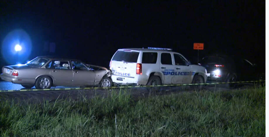 A woman was injured when a driver plowed in into a police sports utility vehicle after the officer had pulled over the woman for speeding about 2 a.m. Friday, Sept. 2, 2016, on southbound Highway 288 near Country Road 64 in Brazoria County. (Metro Video)