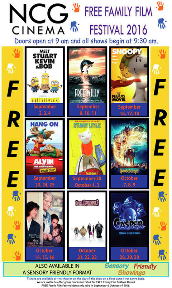 A list of free movies to be shown at the Midland Cinemas starting this weekend.