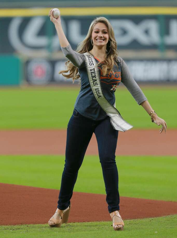 Miss Texas 2016 Daniella Rodriguez throws out ceremonial firtst pitch at Minute Maid Park on August 31, 2016 in Houston, Texas.Click through to see a few more photos of Miss Texas.... Photo: Bob Levey/Getty Images