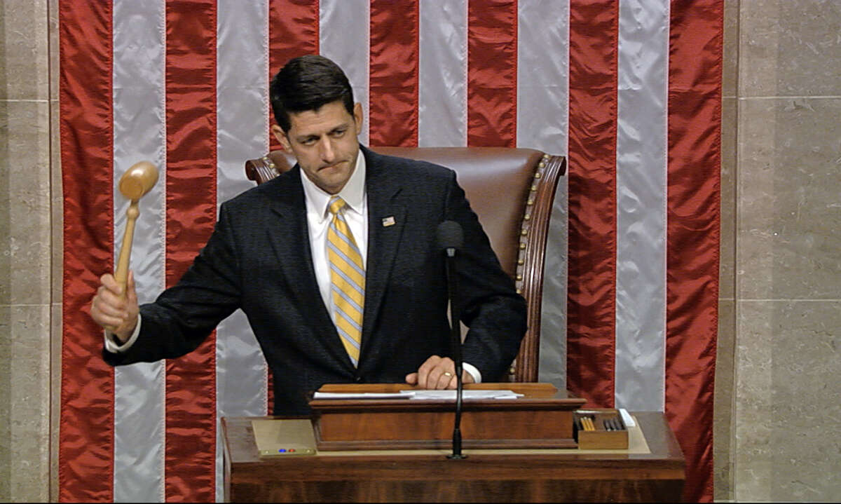 In this image from video provided by House Television, House Speaker Paul Ryan gavels the House into session on June 22. Ryan is coming to the state for a Sept. 19 fundraiser.