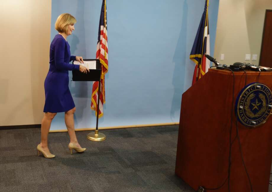 Harris County District Attorney Devon Anderson arrives for a media conference to discuss the thousands of pieces of evidence that were destroyed by Harris County Pct. 4 and how this situation is affecting cases in Harris County Friday, Sept. 2, 2016. A criminal investigation is ongoing. Photo: Melissa Phillip/Houston Chronicle